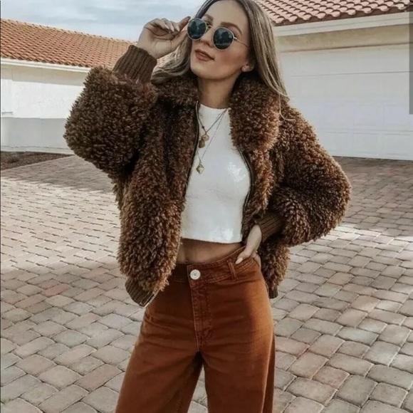 e622344f4 Zara Brown Teddy Fleece Faux Fur Bomber Jacket